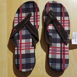 Nike Plaid flip flops NEW with tags